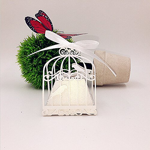 Saitec New 50pcs birdcage wedding favor box love birds candy box wedding favors and gifts wedding decoration gift box for wedding (White)