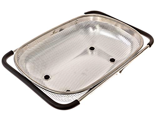 (LiveFresh Over the Sink Micro-perforated Stainless Steel 4-Quart Colander with Non-Slip Handle Grips and Rubber Feet - Handles Extend to Fit Any Sink)