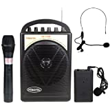 Hisonic HS122B-HL 40 Watts Lithium Battery Rechargeable Portable PA System with Built-in Dual Channel Wireless Microphones, BLACK