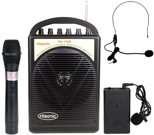 Hisonic HS122B-HL 40 Watts Lithium Battery Rechargeable & Portable PA System with Built-in Dual Wireless Microphones
