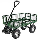 Sunnydaze Garden Cart, Heavy Duty Collapsible Utility Wagon, 400 Pound Capacity, Green