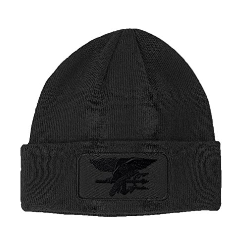 Navy Seal Black Logo Embroidery Design Double Layer Acrylic Patch Beanie Dark Grey (Navy Seal Beanie Hat)