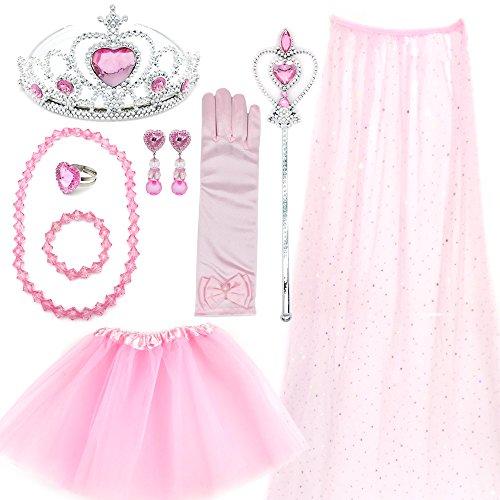 Elesa Miracle Kids Girl Princess Costume Set Dress Up Party Favor Cape Tutu Skirt and Jewelry Set, Pink