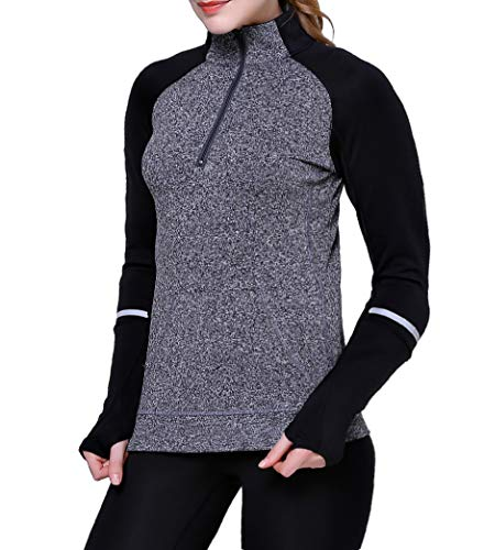 - Women Track Jacket Running Thumb Hole Shirts Yoga Tops 1/2 Zip Pullover Long Sleeve Grey S