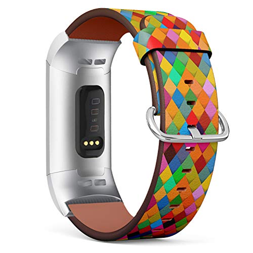 Compatible with Fitbit Charge 3 & 3 SE - Leather Wristband Bracelet Replacement Accessory Band (Includes Adapters) - Geometric Harlequin Style