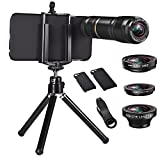 Telephoto Lens for Cell Phone - ARORY 12X Telephoto Lens + Fisheye Lens + 2 in 1 Macro and 0.65X Wide Angle Lens with Case for iphone 8 / 8 plus / 7 / 7 plus + Tripod + Holder