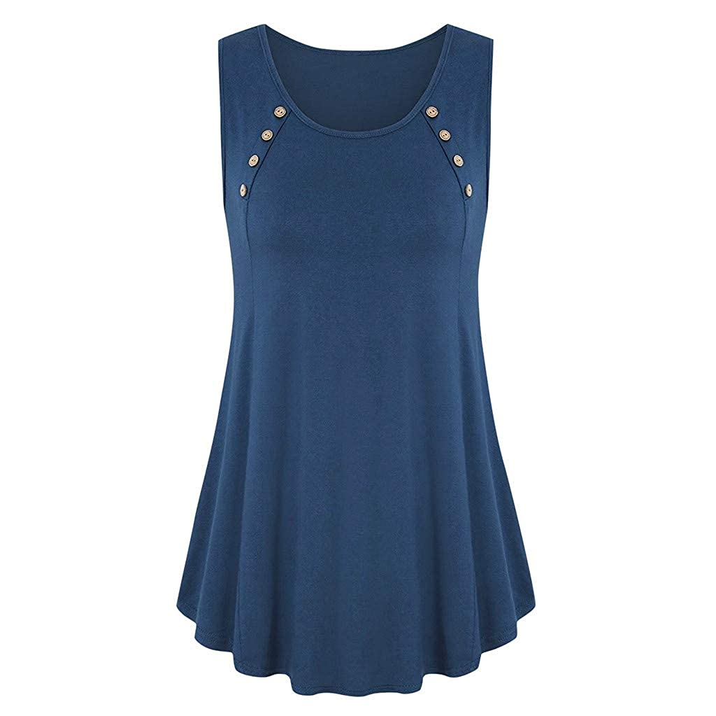 VEZAD Store Women Swing Flowy Tank Tops Summer Round Neck Sleeveless Buttons Solid Casual Loose Shirt