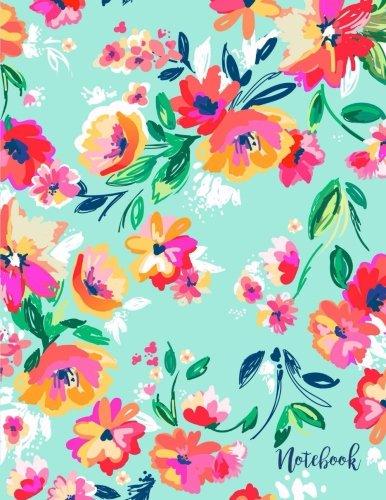 Notebook: Bright Floral Blooms on Beach Glass Aqua, 8.5 x 11 PDF