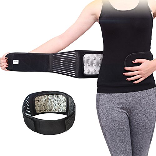 -Heating Magnetic Therapy Support Brace Adjustable Pain Relief Back Waist Support Lumbar Brace Belt M ()