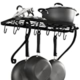 VDOMUS Square Grid Wall Mount Pot Rack, Bookshelf Rack with 10 Hooks, Kitchen Cookware, 24 by 10-inch, Black ()