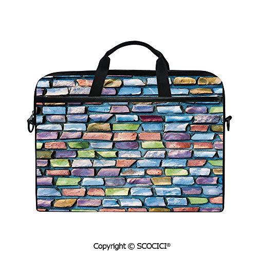 Printed Waterproof Laptop Shoulder Messenger Bag Case Colorful Mosaic Textured Sketchy Brick Wall Display Glossy Grid Modern Artwork for 15 Inch Laptop Notebook