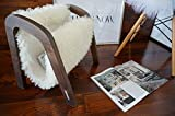 Oak wood Magazine Rack with genuine white British Leicester sheepskin rug - extra curly wool - Design Furniture by MILABERT (MR3)