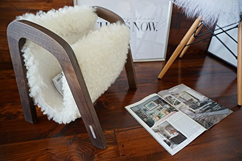 Oak wood Magazine Rack with genuine white British Leicester sheepskin rug - extra curly wool - Design Furniture by MILABERT (MR3) by MILABERT