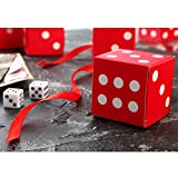AWELL Red Dice Favor Box Bulk 2x2x2 inches with Red Ribbon, Casino Party Decoration, Pack of 50