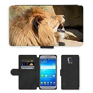 PU LEATHER case coque housse smartphone Flip bag Cover protection // M00130953 León Leona Vida Silvestre Animal Hunter // Samsung Galaxy S5 S V SV i9600 (Not Fits S5 ACTIVE)
