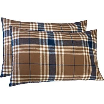 Pinzon 160 Gram Plaid Flannel Cotton Pillowcases, Set of 2, King, Brown Plaid
