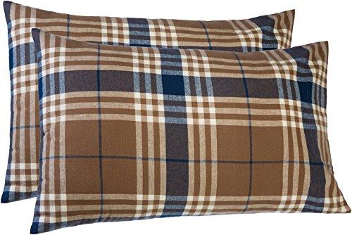Pinzon 160 Gram Plaid Flannel Pillowcases – King, Brown Pl