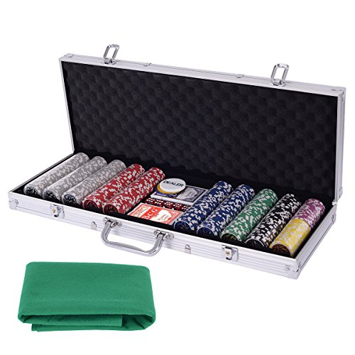 Eight24hours Poker Chip Set 500 Dice Chips Texas Hold'em Cards with Silver Aluminum Case by Eight24hours