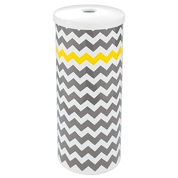 Interdesign Una Klopapier Aufbewahrung Mit Deckel Freistehender Toilettenpapier Ersatzrollenhalter Im Zickzack Muster Aus Kunststoff Grau Und Gelb