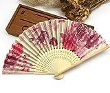 Pink Japanese Chinese Handmade Pocket Fan Plum Blossom Flower Print Folding Hand Fans Matrimonio