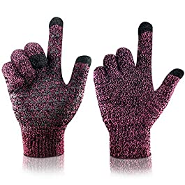 arteesol Knit Gloves Winter Warm Gloves, Windproof Anti-slip Touch Screen Gloves Thickening Working Outdoor Sports Driving, Skiing, Running for Men Women Children