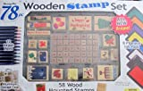 MessageStor WOODEN STAMP Set ''HOLIDAYS'' 78 Pieces w 58 WOOD Mounted STAMPERS, 8 INK PADS, See Thru ALUMINUM STORAGE CASE & More (2005)