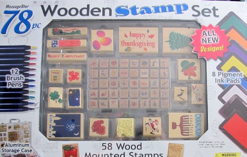 MessageStor WOODEN STAMP Set ''HOLIDAYS'' 78 Pieces w 58 WOOD Mounted STAMPERS, 8 INK PADS, See Thru ALUMINUM STORAGE CASE & More (2005) by Wooden Stamp Set