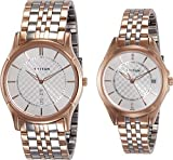 Titan Couple's 16362565KM01 Contemporary Silver Dial Silver-Gold Metal Strap Watch