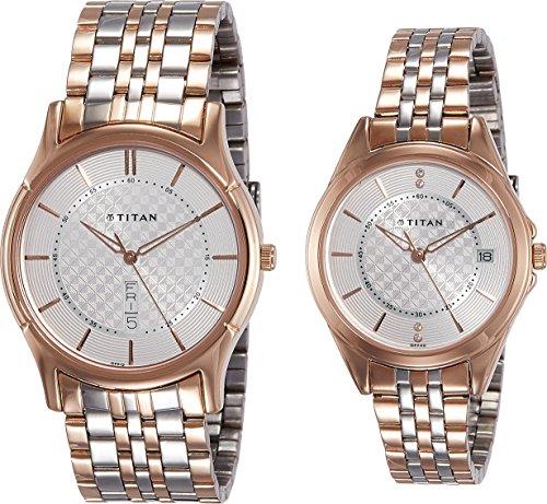 Titan Couple's 16362565KM01 Contemporary Silver Dial Silver-Gold Metal Strap Watch by Titan