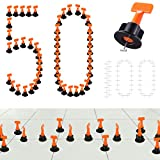 Tiles Leveling System Kits 50 PCS 2mm Tile Spacer 100 PCS, DIY Tiles Leveler Spacers with Wrench, ReusableFlooring Level Tile levellers, Wall & Floor Construction Tools By Tanek