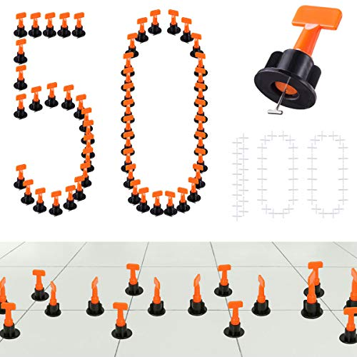 (Tiles Leveling System Kits 50 PCS 2mm Tile Spacer 100 PCS, DIY Tiles Leveler Spacers with Wrench, ReusableFlooring Level Tile levellers, Wall & Floor Construction Tools By Tanek)