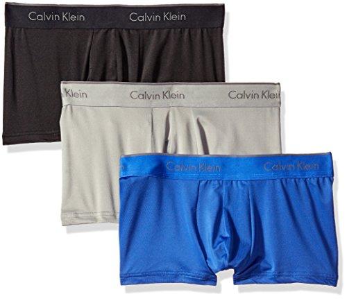 Calvin Klein Men's Microfiber Stretch Multipack Low Rise Trunks, Black/Cobalt Water/Grey Heather, Small