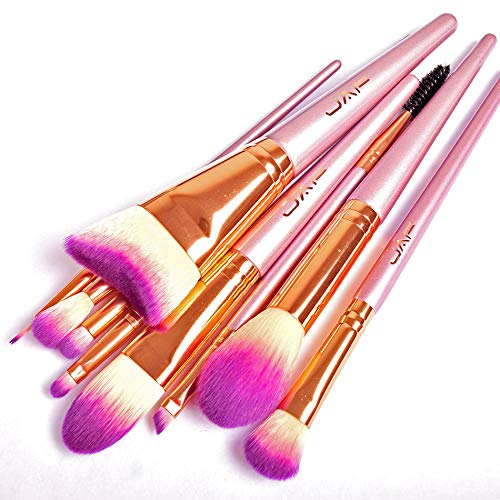 (Fluffy brush set, JAF Taklon Makeup Brushes, Curved Contour Brush, Gradient Pink Taklon Face Makeup, Eye Makeup, Lip Brushes, Portable, Synthetic, Professional, Flawless, Cruelty Free Cosmetic Tools )