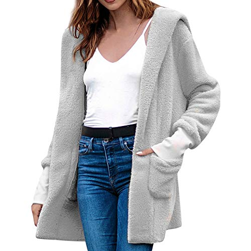 - Fur Casual Cardigan Women's Winter High-End Mid-Length Jacket Hooded Plush Solid Color Coat ANJUNIE(Gray1,L)