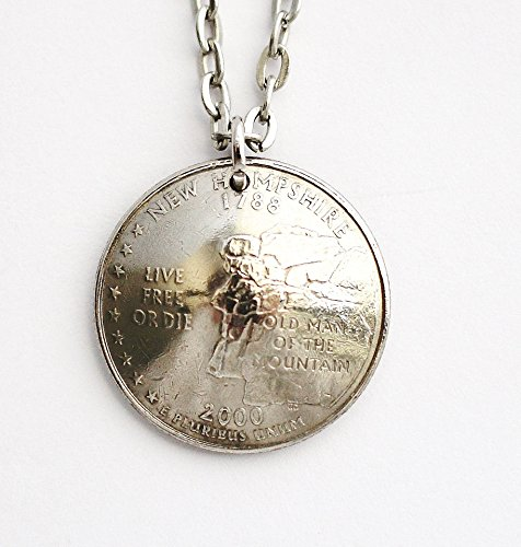 New Hampshire U.S. State Quarter Domed Coin Necklace Pendant 2000 (Us Quarter Coin Old)