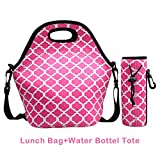 Fantastic Zone Waterproof Neoprene Outdoor Travel Picnic Lunch Box Bag with Zipper, Adjustable Crossbody Strap and Detachable Water Bottle Bag