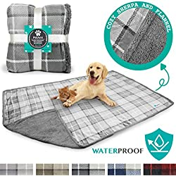 PetAmi Waterproof Dog Blanket for Bed, Couch, Sofa | Waterproof Dog Bed Cover for Large Dogs, Puppies | Checkered Grey Sherpa Fleece Pet Blanket Furniture Protector | 80 x 55 (Light Gray)