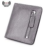 BIG SALE-AINIMOER Women's RFID Blocking Leather Small Compact Bifold Pocket Wallet Ladies Mini Purse with id Window (Gray)