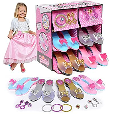 Liberty Imports Princess Dress Up and Play Shoe and Jewelry Boutique with 4 Pairs of Shoes, Earrings, Bracelets, Rings - Perfect for Girls: Toys & Games