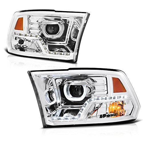 - VIPMOTOZ Halo Ring LED Strip Projector Headlights For 2009-2018 Dodge RAM 1500 2500 3500 - Metallic Chrome Housing, Driver & Passenger Side