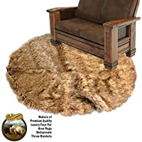 Oval Faux Wolf Skin - Coyote - Shag Area Rug - Accent Throw Rug - Thick - Plush - Natural Golden Brown - Ultra Suede Non Slip Back - Premium Faux Fur - Fur Accents USA (5x6)