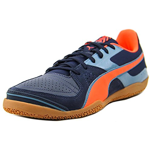 Puma Womens Invicto Sala Shoes, Total Eclipse/Lava Blast/Tapestry Blue, Size 8