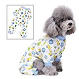 SELMAI Dog Pajamas Pet Sleepwear Pjs Breathable Soft Cotton Elastic Cat Apparel Costume Cartoon Onesies for Small Puppy Girls Shirts Doggies Jumpsuit Easy on Spring Summer Autumn Clothes Blue M
