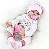 HXUEE Realistic Reborn Baby Doll Silicone Babies Bear Pattern Pink Outfit Girl 22 inch Magnetic Mouth Toys 55CM Lifelike Newborn Toddler