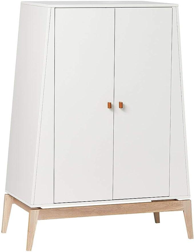 Leander Luna - Armario ropero pequeño con 1 barra, 2 estantes, color blanco y roble: Amazon.es: Hogar