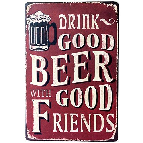 MoGist Cartel de Chapa Pared Cerveza Póster Rojo Metal Publicidad Vintage Diseño Tipo de Carteles para Hotel Pub Bar Coffee Shop Pared de decoración