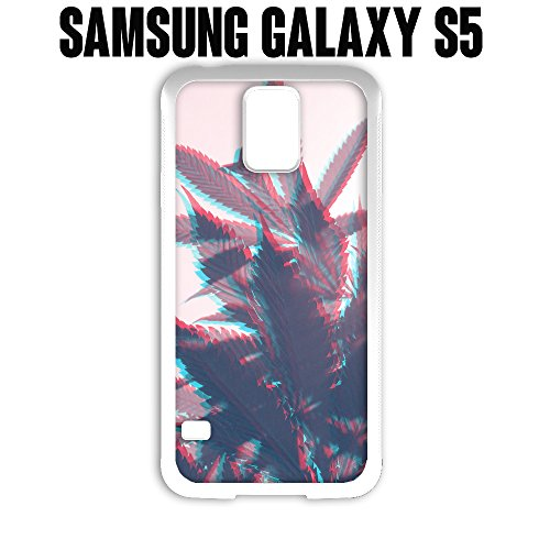 Phone Case Trippy Weed 420 for Samsung Galaxy S5 Rubber White (Ships from CA)