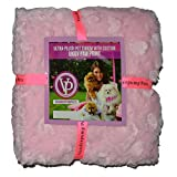 Vanderpump Pets Embroidered Plush Faux Fur Pet Blanket, Pink
