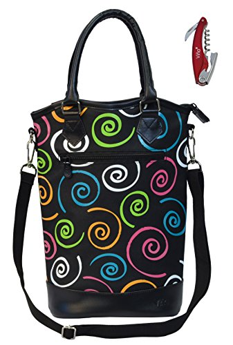 Aluminum Wine Tote - Vina Deluxe 2 Bottle Wine Purse Tote Bag Colorful Spiral - Thermal Insulated Wine/Champagne Travel Carrier Cooler Bag Stylish Great for Taking Wine to Restaurants, Picnics, the Beach or any Occasion