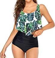 Edelqual Tankini Swimsuits for Women Two Piece Bikini High Waisted Bottom Bathing Suits with Ruffled Flounce T